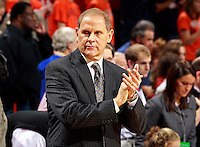 CHARLOTTESVILLE, VA- NOVEMBER 29:  Head coach John Beilein of the Michigan Wolverines before the game against the Virginia Cavaliers on November 29, 2011 at the John Paul Jones Arena in Charlottesville, Virginia. Virginia defeated Michigan 70-58. (Photo by Andrew Shurtleff/Getty Images) *** Local Caption *** John Beilein