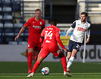 31st October 2020; Deepdale Stadium, Preston, Lancashire, England; English Football League Championship Football, Preston North End versus Birmingham City;  Tom Barkhuizen of Preston North End takes on Jonathan Leko of Birmingham City