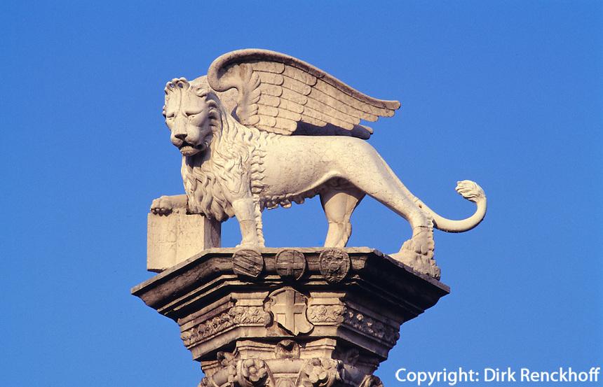 Piazza dei Signorie, Säule mit Markus-Löwe, Vicenza,  Venetien, Italien, Unesco-Weltkulturerbe