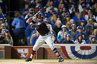 Cleveland Indians Rajai Davis (20) bats in the first inning during Game 5 of the Major League Baseball World Series against the Chicago Cubs on October 30, 2016 at Wrigley Field in Chicago, Illinois.  (Mike Janes/Four Seam Images)