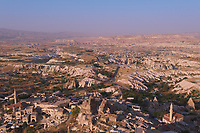 Uchisar village from the top of the castle at sunset, Cappadocia, Turkey