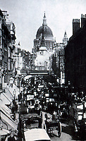 London: Ludgate Hill, Fleet St., 1897. From VICTORIAN ARTISTS & THE CITY, 1980.    Reference only.