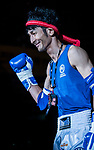 Nitamizu Toshiyuki (Blue) of Japan enters to the ring prior  the male muay 57KG division weight bout against Lam Lit Tung (Not in picture) of Hong Kong during the East Asian Muaythai Championships 2017 at the Queen Elizabeth Stadium on 13 August 2017, in Hong Kong, China. Photo by Yu Chun Christopher Wong / Power Sport Images