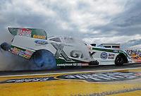 Aug. 21, 2011; Brainerd, MN, USA: NHRA funny car driver Mike Neff during the Lucas Oil Nationals at Brainerd International Raceway. Mandatory Credit: Mark J. Rebilas-