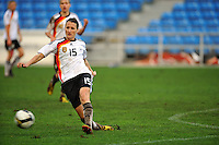 German defender Sonja Fuss clears the ball. The USA captured the 2010 Algarve Cup title by defeating Germany 3-2, at Estadio Algarve on March 3, 2010.