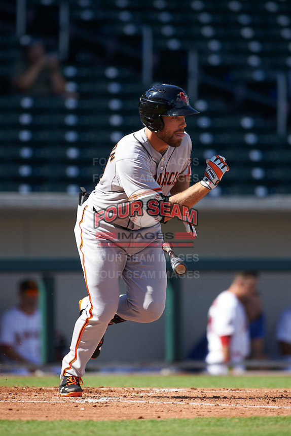 Scottsdale Scorpions outfielder Mac Williamson (46) at bat during an Arizona Fall League game against the Mesa Solar Sox on October 19, 2015 at Sloan Park in Mesa, Arizona.  Scottsdale defeated Mesa 10-6.  (Mike Janes/Four Seam Images)