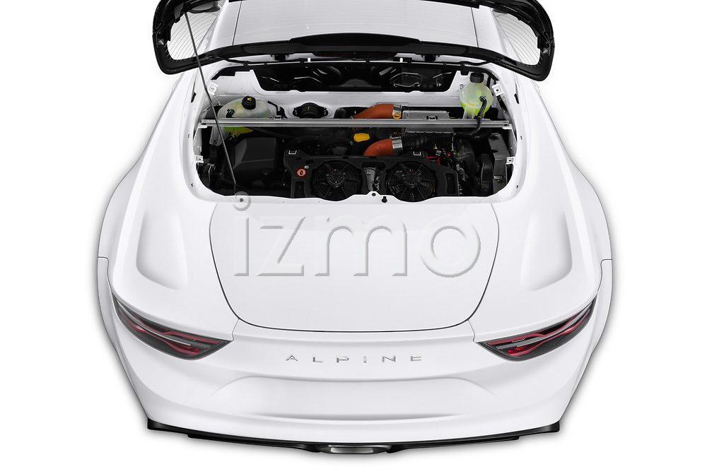 Engine high angle detail view of 2019 Alpine A110 Pure 2 Door Coupe