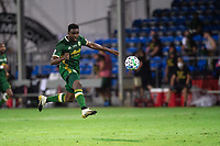 LAKE BUENA VISTA, FL - AUGUST 11: Larrys Mabiala #33 of the Portland Timbers kicks the ball during a game between Orlando City SC and Portland Timbers at ESPN Wide World of Sports on August 11, 2020 in Lake Buena Vista, Florida.