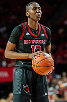COLLEGE PARK, MD - FEBRUARY 9: Mael Gilles #13 of Rutgers at the free throw line during a game between Rutgers and Maryland at Xfinity Center on February 9, 2020 in College Park, Maryland.