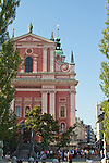 Slovenia, Ljubljana, Presernov Trg, central square, Church of the Assumption (rose colored building), old town, Baroque architecture, Europe,