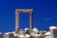 Naxos, Greece, Greek Islands, Cyclades, Europe, Temple of Apollo on islet of Palatia on Naxos Island on the Aegean Sea.