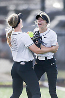Bentonville left fielder Alleyna Rushing (24) reacts after forcing an out, Thursday, April 29, 2021 during a softball game at Bentonville High School in Bentonville. Check out nwaonline.com/210430Daily/ for today's photo gallery. <br /> (NWA Democrat-Gazette/Charlie Kaijo)