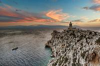 Sunset at Cape Melagavi Lighthouse in Corinthia, Greece