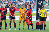 AUSTIN, TX - JUNE 16: Alyssa Naeher #1 talks with Carli Lloyd #10 of the USWNT before a game between Nigeria and USWNT at Q2 Stadium on June 16, 2021 in Austin, Texas.