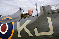 Spitfire pilot Annæus Schjødt (94) in the back seat. Norwegian Spitfire Foundation invited Norwegian WWII Spitfire veterans to fly in Spitfire, at the historical airfield Kjeller in Norway. Front seat pilot was Eskil Amdal, currently the lead fast-jet pilot in the RNoAF with responsibility for the F-16 and F-35.