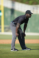 Umpire James Jean handles the calls on the bases during the South Atlantic League game between the Delmarva Shorebirds and the Kannapolis Intimidators at Kannapolis Intimidators Stadium on May 19, 2019 in Kannapolis, North Carolina. The Shorebirds defeated the Intimidators 9-3. (Brian Westerholt/Four Seam Images)