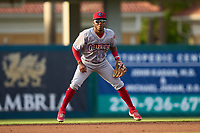 Clearwater Threshers shortstop Luis García (5) during a game against the Fort Myers Mighty Mussels on May 12, 2021 at Hammond Stadium in Fort Myers, Florida.  (Mike Janes/Four Seam Images)