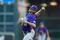 LSU Tigers starting pitcher Landon Marceaux (11) in action against the Baylor Bears in game five of the 2020 Shriners Hospitals for Children College Classic at Minute Maid Park on February 29, 2020 in Houston, Texas. The Bears defeated the Tigers 6-4. (Brian Westerholt/Four Seam Images)