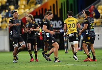 Chiefs players celebrate their win. Super Rugby Aotearoa. Hurricanes v Chiefs. Sky Stadium, Wellington. Saturday 20th March 2021. Copyright photo: Grant Down / www.photosport.nz