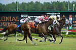 19 June 2010: Lady Rizzi and Alan Garcia hold off If Not for Lust and Vladimir Diaz to win the Buckland Stakes race at Colonial Downs in New Kent, Va. Lady Rizzi is owned by Benchmark Racing Stable, trained by Linda Rice