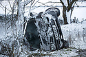 25/11/17<br /> <br /> A car is slides off the A515 near Flagg after snowfall in the Derbyshire Peak District.<br />  <br /> All Rights Reserved F Stop Press Ltd. +44 (0)1335 344240 +44 (0)7765 242650  www.fstoppress.com