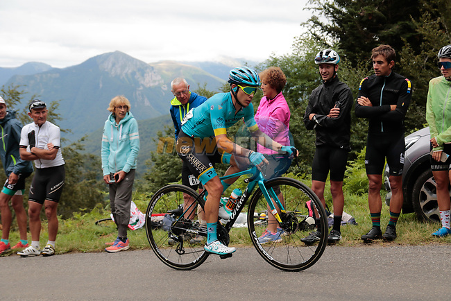 Miguel Angel Lopez Moreno (COL) Astana Pro Team rounds the final bend before the finish of Stage 3 of the Route d'Occitanie 2020, running 163.5km from Saint-Gaudens to Col de Beyrède, France. 3rd August 2020. <br /> Picture: Colin Flockton | Cyclefile<br /> <br /> All photos usage must carry mandatory copyright credit (© Cyclefile | Colin Flockton)