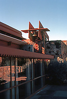 F.L. Wright: Taliesin West. Rear (North of house).  Photo '77.
