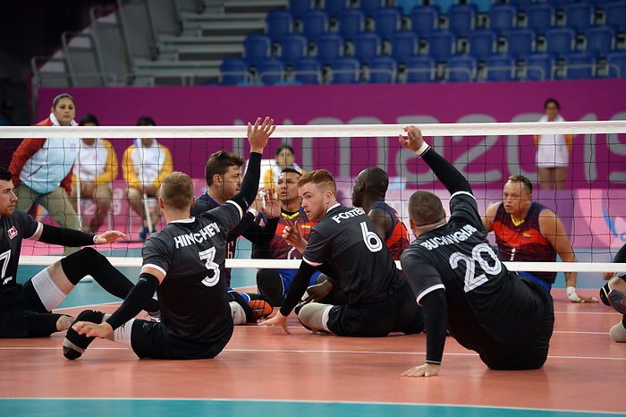 Bryce Foster, Austin Hinchey, Jesse Buckingham, and Doug Learoyd, Lima 2019 - Sitting Volleyball // Volleyball assis.<br /> Canada competes in men's Sitting Volleyball // Canada participe au volleyball assis masculin. 24/08/2019.