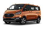 Stock pictures of low aggressive front three quarter view of 2021 Ford Tourneo-Custom Active 5 Door Passenger Van Low Aggressive