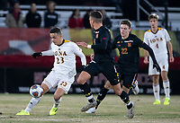 COLLEGE PARK, MD - NOVEMBER 21: Malcolm Johnson #11 of Maryland defends against Francesc Chulia #23 of Iona during a game between Iona College and University of Maryland at Ludwig Field on November 21, 2019 in College Park, Maryland.