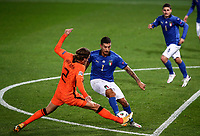 Italy's Lorenzo Pellegrini, right, is challenged by Netherlands' Hans Hateboer during the UEFA Nations League football match between Italy and Netherlands at Bergamo's Atleti Azzurri d'Italia stadium, October 14, 2020.<br /> UPDATE IMAGES PRESS/Isabella Bonotto