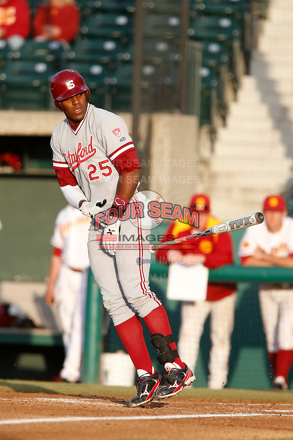Austin Wilson #25 of the Stanford Cardinal bats against the USC Trojans at Dedeaux Field on April 5, 2013 in Los Angeles, California. (Larry Goren/Four Seam Images)