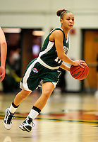 5 December 2009: Manhattan College Jaspers' guard Laura Rivera, a Sophomore from Elmont, NY, in action against the University of Vermont Catamounts at Patrick Gymnasium in Burlington, Vermont. The Catamounts defeated the visiting Jaspers 78-59 to mark the Lady Cats' second home win of the season. Mandatory Credit: Ed Wolfstein Photo