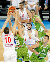 """in action during European basketball championship """"Eurobasket 2013"""" classification basketball game from 5th to 8th place between Serbia and Slovenia in Stozice Arena in Ljubljana, Slovenia, on September 19. 2013. (credit: Pedja Milosavljevic  / thepedja@gmail.com / +381641260959)"""
