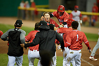 Batavia Muckdogs first baseman Sean Reynolds (25) is mobbed by his teammates after hitting a game winning single in the bottom of the ninth inning during a game against the Williamsport Crosscutters on June 21, 2018 at Dwyer Stadium in Batavia, New York.  Batavia defeated Williamsport 6-5.  (Mike Janes/Four Seam Images)