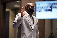 Philonise Floyd, brother of George Floyd, is sworn in during a House Judiciary Committee hearing to discuss police brutality and racial profiling on Wednesday, June 10, 2020.<br /> Credit: Greg Nash / Pool via CNP/AdMedia