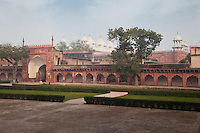 Agra, India.  Agra Fort.  Diwan-i-Am Courtyard, with Moti Masjid (Pearl Mosque) in the background.