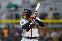 Kevin Maitan (26) of the Danville Braves at bat against the Burlington Royals at Burlington Athletic Stadium on August 14, 2017 in Burlington, North Carolina.  The Royals defeated the Braves 9-8 in 10 innings.  (Brian Westerholt/Four Seam Images)