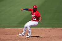 St. Louis Cardinals José Rondón (64) running the bases during a Major League Spring Training game against the Houston Astros on March 20, 2021 at Roger Dean Stadium in Jupiter, Florida.  (Mike Janes/Four Seam Images)
