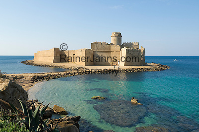 Italy, Calabria, Le Castella: Aragon castle at  Ionian Sea