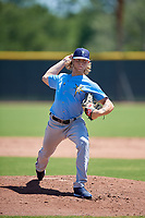 Tampa Bay Rays starting pitcher Shane Baz (35) during a Minor League Extended Spring Training game against the Atlanta Braves on April 15, 2019 at CoolToday Park Complex in North Port, Florida.  (Mike Janes/Four Seam Images)