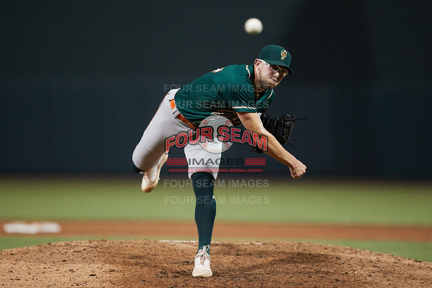 Greensboro Grasshoppers relief pitcher Austin Roberts (27) in action against the Winston-Salem Dash at Truist Stadium on June 17, 2021 in Winston-Salem, North Carolina. (Brian Westerholt/Four Seam Images)