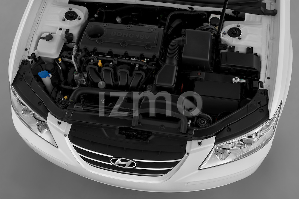 High angle engine detail of a 2010 Hyundai Sonata GLS .