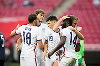 ZAPOPAN, MEXICO - MARCH 21: Benji Michel #14 and the U-23 USMNT celebrate during a game between Dominican Republic and USMNT U-23 at Estadio Akron on March 21, 2021 in Zapopan, Mexico.