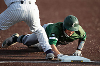 Eastern Michigan Eagles outfielder Shane Easter (1) dives back to first base during the NCAA baseball game against the Michigan Wolverines on May 8, 2019 at Ray Fisher Stadium in Ann Arbor, Michigan. Michigan defeated Eastern Michigan 10-1. (Andrew Woolley/Four Seam Images)