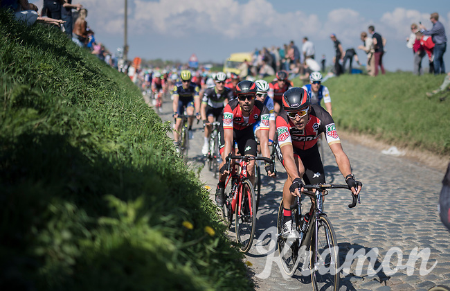 Greg Van Avermaet (BEL/BMC) escorted through the Holleweg by teammate Julien Vermote (BEL/QuickStep Floors)<br /> <br /> 101th Ronde Van Vlaanderen 2017 (1.UWT)<br /> 1day race: Antwerp › Oudenaarde - BEL (260km)