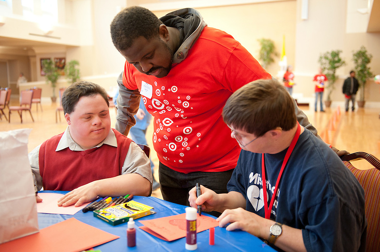 Chicago Public School students, and Target and Discover Card employees volunteer at Misercordia in Chicago for Chicago Cares MLK Celebration of Service day.  Over 3000 Target employees participated in service around Chicago