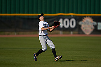 Outfielder Connor Dugan (1) tracks a fly ball during the Perfect Game National Underclass East Showcase on January 23, 2021 at Baseball City in St. Petersburg, Florida.  (Mike Janes/Four Seam Images)