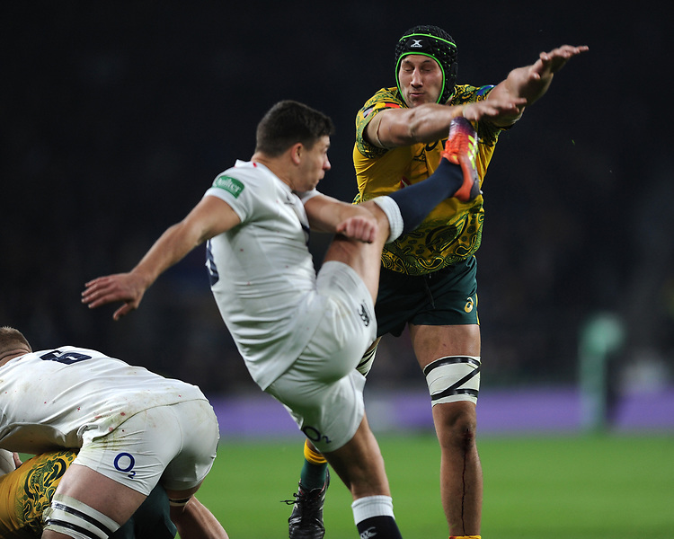 Adam Coleman of Australia attempts t charge down the box kick of Ben Youngs of England during the Quilter International match between England and Australia at Twickenham Stadium on Saturday 24th November 2018 (Photo by Rob Munro/Stewart Communications)