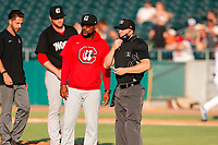 Chattanooga Lookouts manager Ricky Gutierrez (12) makes a pitching change during the game against the Tennessee Smokies at Smokies Stadium on June 18, 2021, in Kodak, Tennessee. (Danny Parker/Four Seam Images)